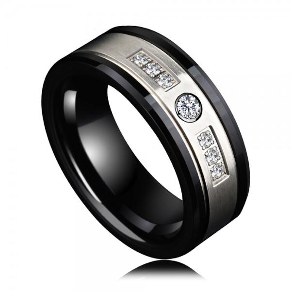 Men's Ceramic Black Ring Business and Vogue Style Cubic Zirconia Inner Arc Design Polish Craft