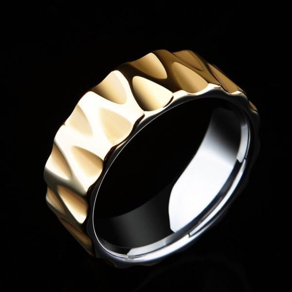 Tungsten Men's Golden Ring Waving Design 18K Gold-plating Highlight Personality Vogue