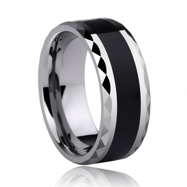 Tungsten Men's Black Ring Inlaid Silica Gel Geometric Cutting Side Simple Fashion Style Polish Craft