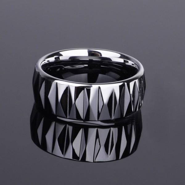 Tungsten Men's Silvery Ring Geometric Cutting Surface Shining Edgeplane Cool and Fashion Polish Inner Arc