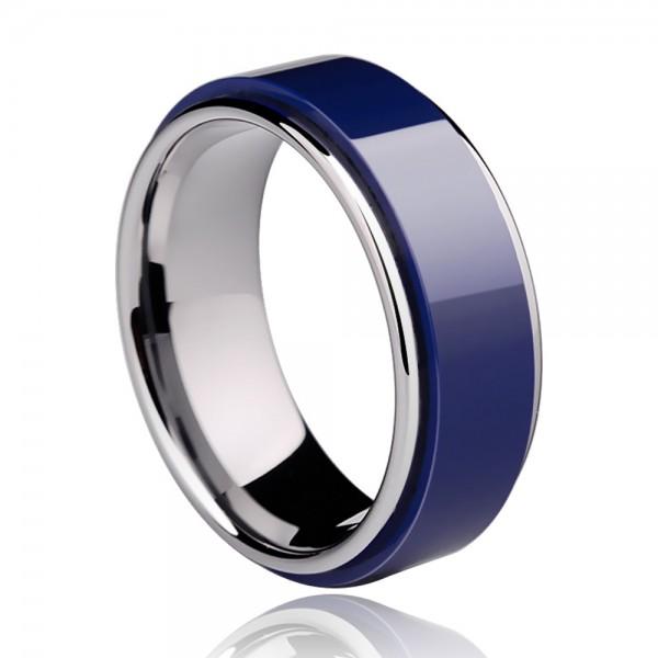 Tungsten Men's Dark Blue Ring Inlaid Ceramic Vogue and Unique Style Mirror Polish Craft