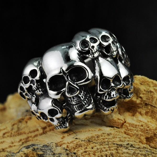 925 Sterling Silver Gothic Skull Skeleton Band Ring
