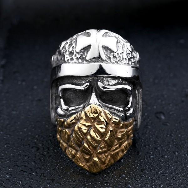 Men's Titanium Steel Masked Cross Skull Ring