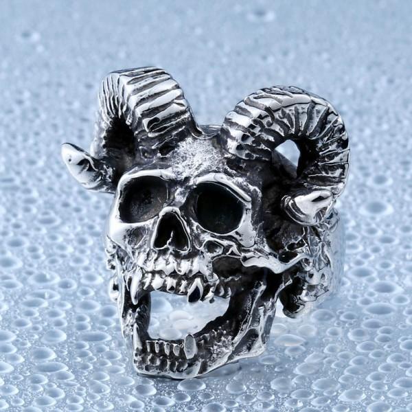 Men's Stainless Steel Horn Skull Ring