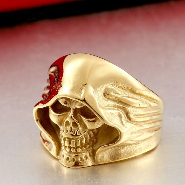 Stainless Steel Grim Reaper Skull Ring