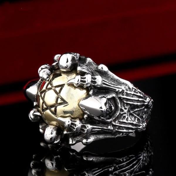 Titanium steel Hexagram claw Skull ring
