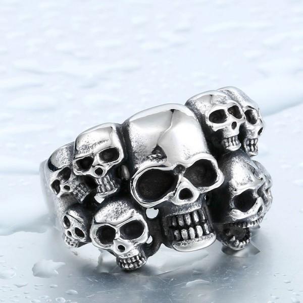 Titanium steel men's personality skull ring
