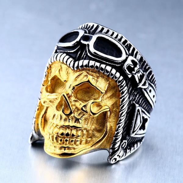Titanium steel men's pilot skull ring