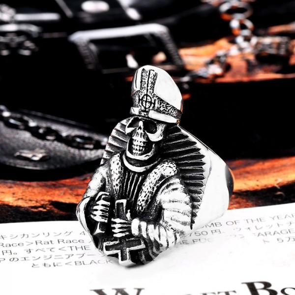 Titanium Steel Bible Cross Skull Ring