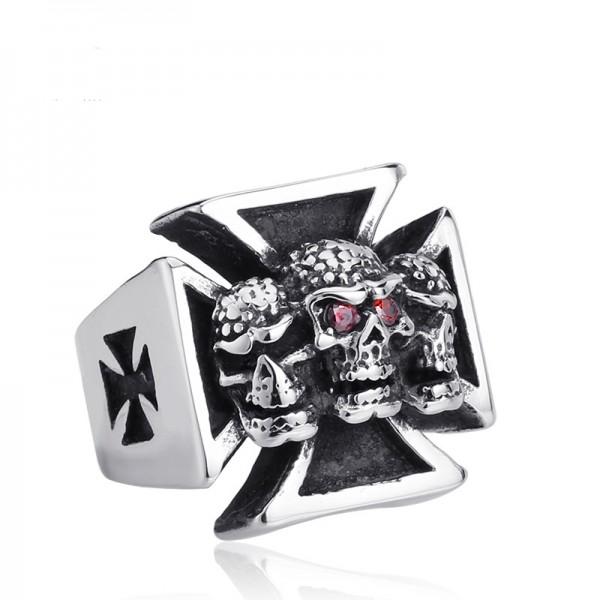 Men's Stainless steel Diamond Cross Skull Ring