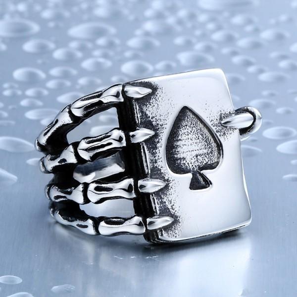 Spades Claw Titanium steel men's skull ring