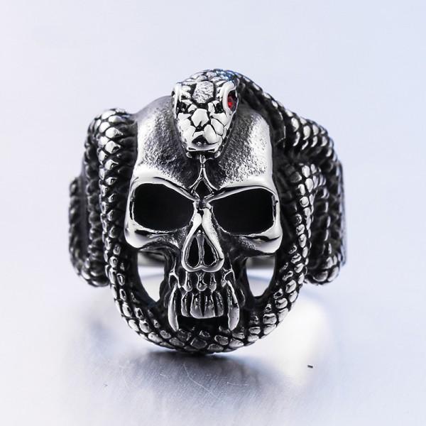 Stainless steel diamond-encrusted python Skull ring