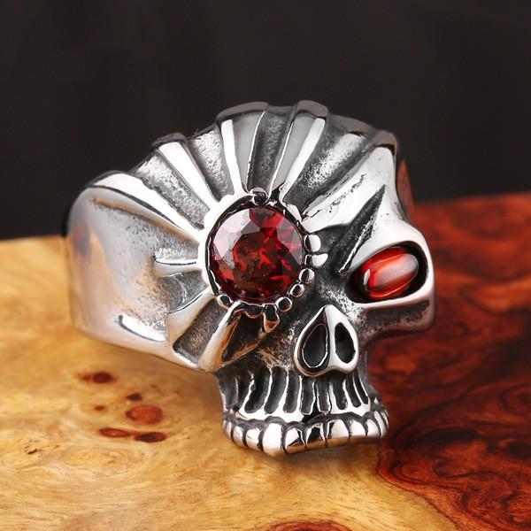 Men's inlaid zircon personality skull ring