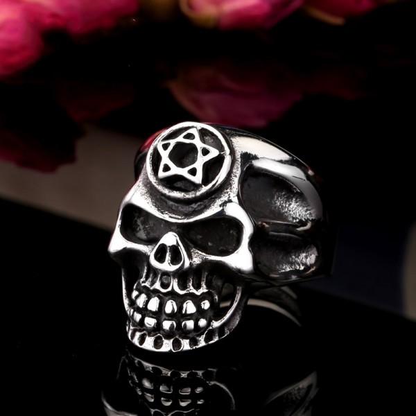Stainless steel Pentacle skull ring