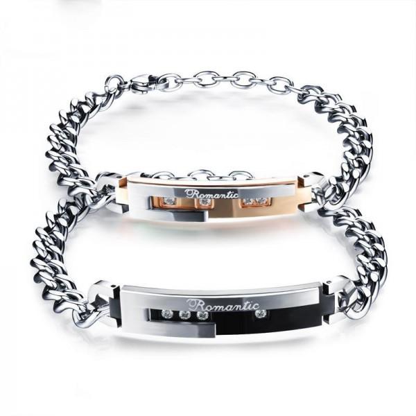 Titanium Steel Lovers Bracelets Plated Black Rose Gold Bracelet Valentine's Day Gift