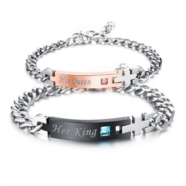Popular Titanium Steel Inlaid Cubic Zirconia Bracelets for Women and Men Elegant Valentine's Day Gift
