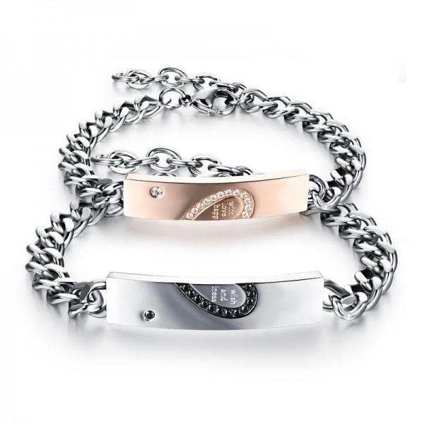 Titanium Steel Lovers Bracelets Classic Creative Heart-Shaped Puzzle Bracelet Valentine's Day Gift