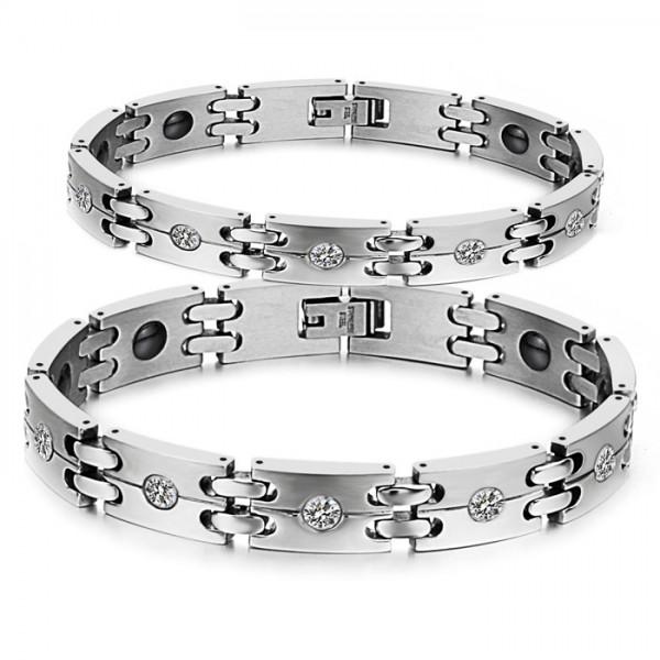 Popular Titanium Steel Bracelet with Import Brazilian Hematite Cubic Zirconia Inlaid Lovers Bracelets
