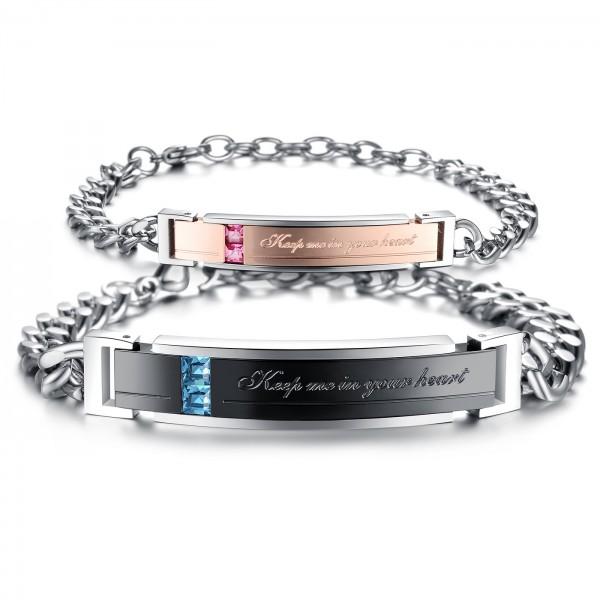 Fashion Jewelry Cubic Zirconia Inlaid Titanium Steel Lovers Bracelets