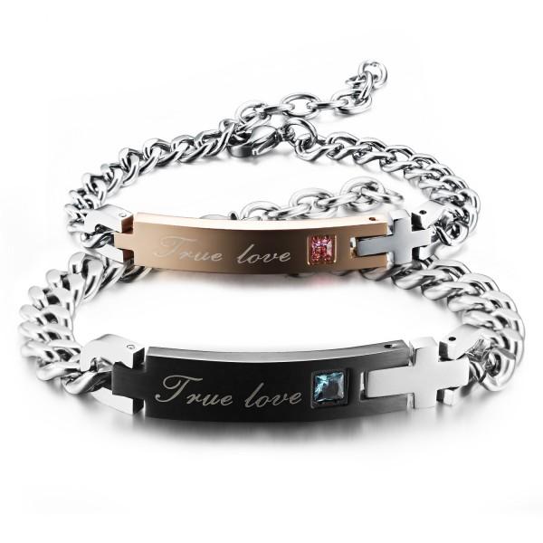 Popular Jewelry Cubic Zirconia Inlaid Titanium Steel Lovers Bracelets