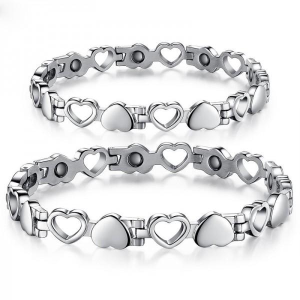 Titanium Steel Bracelet with Energy Magnetic Stone Hollow Heart Lovers Present Bracelets