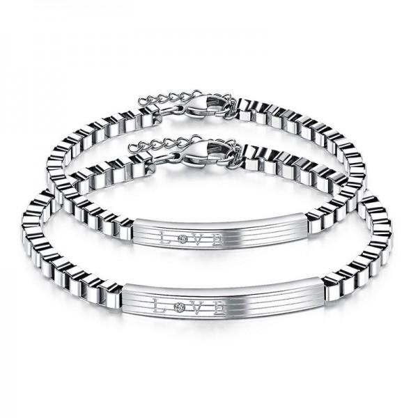 Fashion Cubic Zirconia Inlaid Titanium Steel Lovers Bracelets