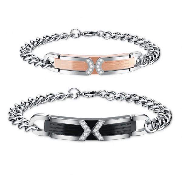 Titanium Steel Inlaid Cubic Zirconia Lovers Bracelets Fashion Jewelry Bracelets for Couples