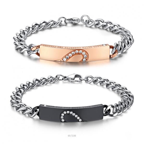 Fashion Heart-Shaped Puzzle Titanium Steel Inlaid Cubic Zirconia Lovers Bracelets