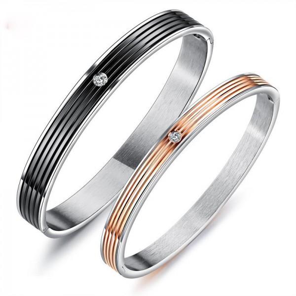 Original Design Titanium Steel Inlaid Cubic Zirconia Lovers Bracelets