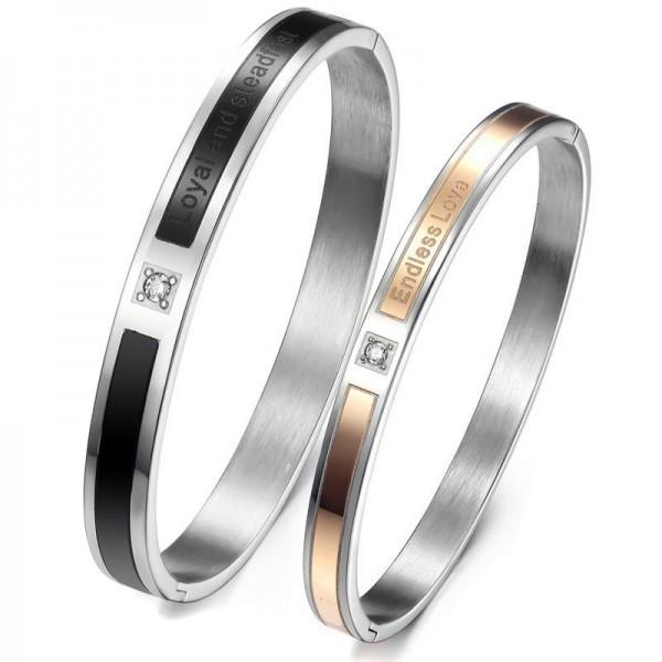 Simple Style Endless Love Titanium Steel Inlaid Cubic Zirconia Lovers Bracelets