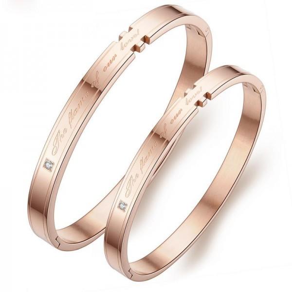 New Arrivals Titanium Steel Inlaid Cubic Zirconia Rose Gold Lovers Bracelets