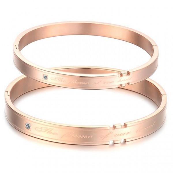 True Love Titanium Steel Inlaid Cubic Zirconia Rose Gold Lovers Bracelets