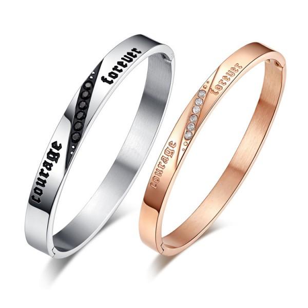 New Arrivals Fashion Titanium Steel Inlaid Cubic Zirconia Lovers Bracelets