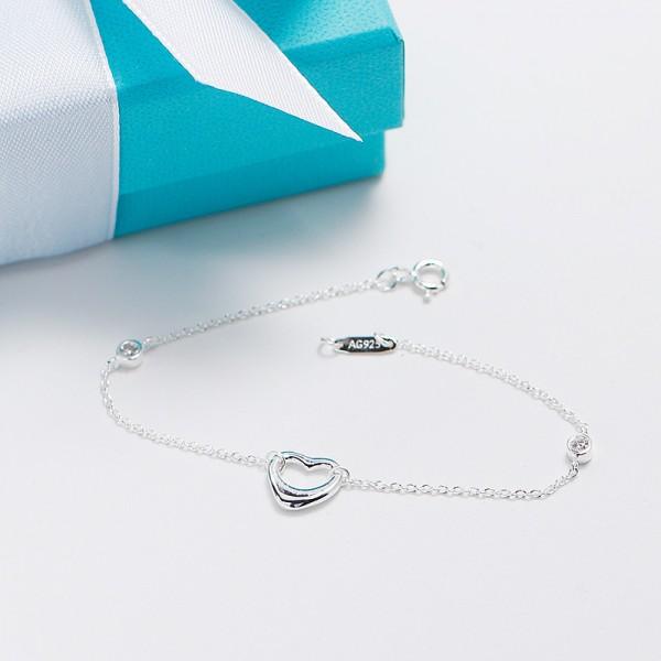 Fashion Hollow Heart-Shaped S925 Sterling Silver Women Bracelet