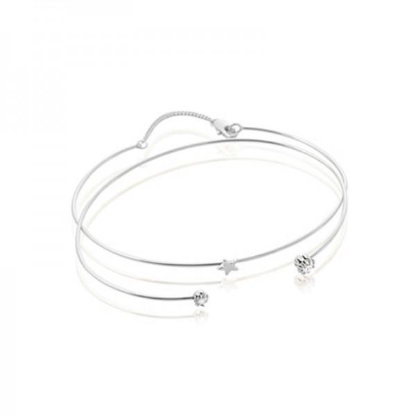 S925 Sterling Silver Inlaid Cubic Zirconia Women Opening Bracelet