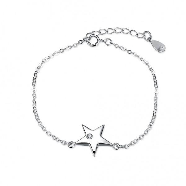 Original Design Star-Shaped S925 Sterling Silver Inlaid Cubic Zirconia Bracelet