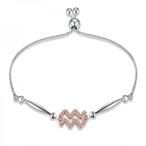 Hot Selling Twelve Constellation Aquarius Style S925 Sterling Silver Inlaid Cubic Zirconia Bracelet