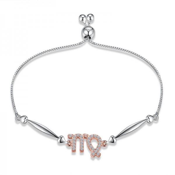 Hot Selling Twelve Constellation Virgo Style S925 Sterling Silver Inlaid Cubic Zirconia Bracelet