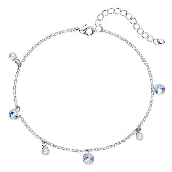 Elegant S925 Sterling Silver Inlaid Crystal Pearl Bracelet