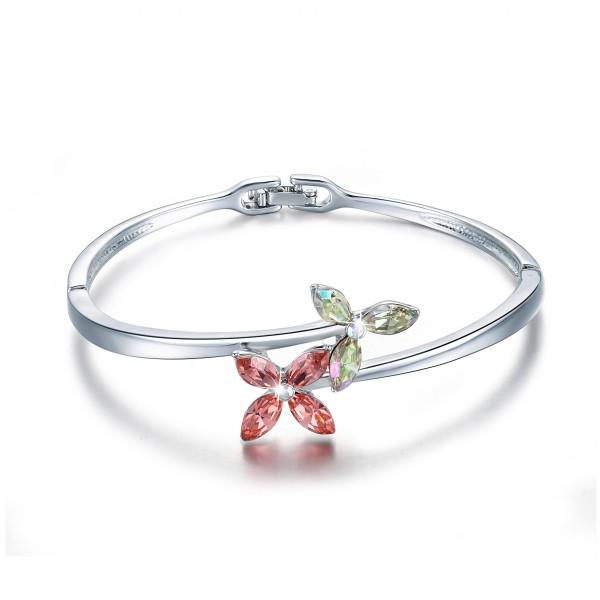 Original Design Four-leaf Clover Shaped Love S925 Sterling Silver Inlaid Crystal Women Bracelet