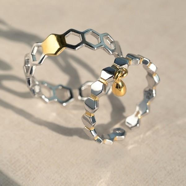 Original Design Honeycomb and Honey Simple Lovers Ring