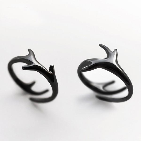 Original Design Deer Antler Black Simple Lovers Ring