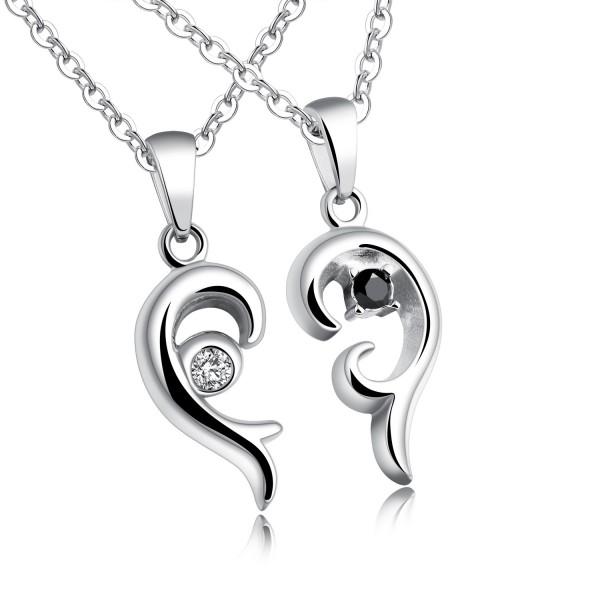 Romantic 3A Zircon Titanium steel Couples Necklace Valentine'S Day Gift