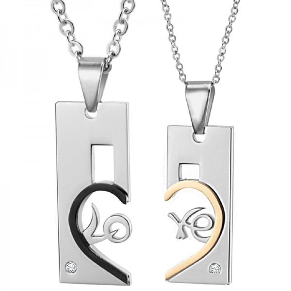 3A Zircon Titanium steel Trendy Couples Necklace Valentine'S Day Gift