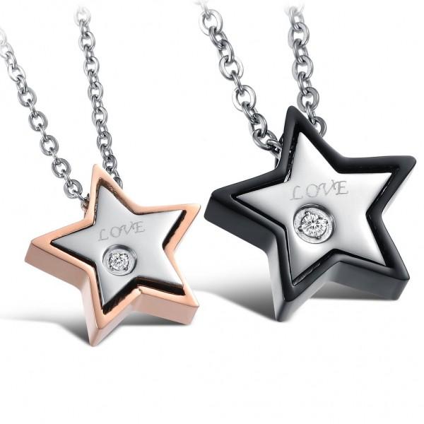 3A Zircon Romantic Titanium steel Couples Necklace Valentine'S Day Gift