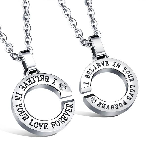 Trendy 3A Zircon Titanium steel Couples Necklace Valentine'S Day Gift