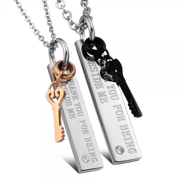 3A Zircon Titanium steel Couples Necklace Trendy Valentine'S Day Gift