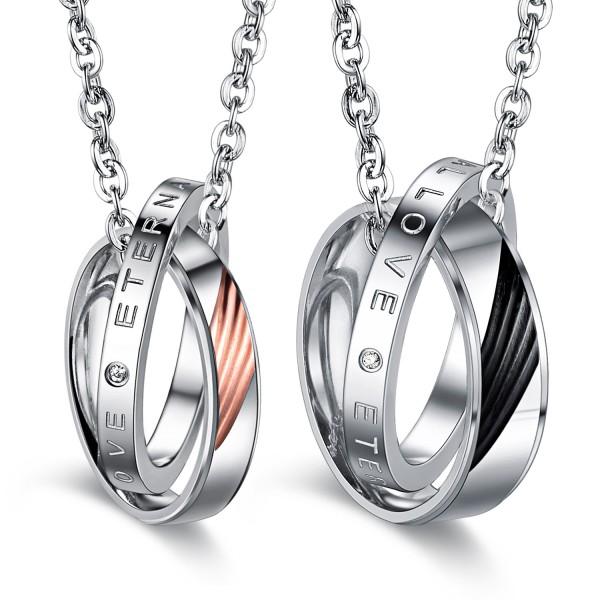 3A Zircon Fashion Titanium steel Couples Necklace Valentine'S Day Gift