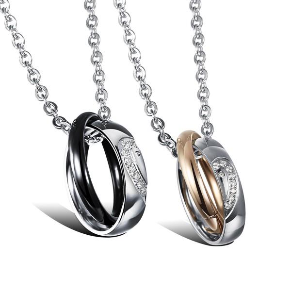 3A Zircon Lovers Titanium steel Couples Necklace Valentine'S Day Gift