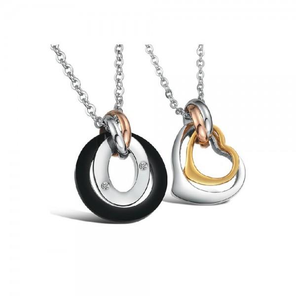 3A Zircon Romantic Lovers Titanium steel Couples Necklace Valentine'S Day Gift